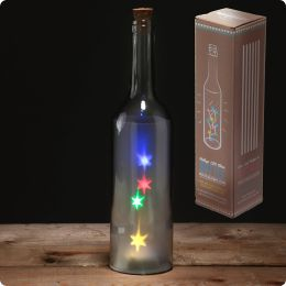 Decorative LED Glass Light Jar - Bottle with Coloured Stars