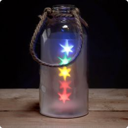 Decorative LED Glass Light Jar - Coloured Stars with Rope