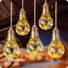 Battery Operated LED Bulb Warm White Lights - Timer - 5pcs