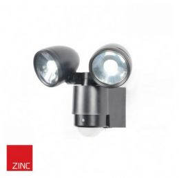 3W Twin LED Outdoor Sensor Spotlight - Black Finish (Bulbs Included)