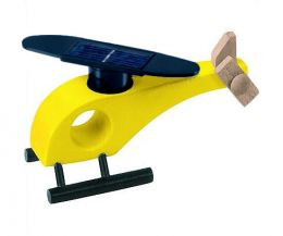 Solar-powered wooden helicopter (yellow)