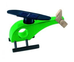 Solar-powered wooden helicopter (green)