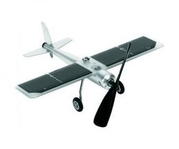 Aluminium aeroplane with solar powered spinning propellor