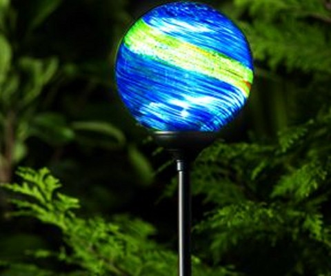 solar powered garden lights murano midnight stained glass globes. Black Bedroom Furniture Sets. Home Design Ideas
